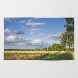 Track beside treelined Rapeseed field at sunset. Bradenham, Norfolk, UK Rug