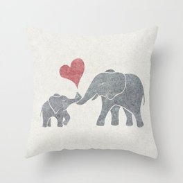 Elephant Hugs with Heart in Muted Gray and Red Throw Pillow