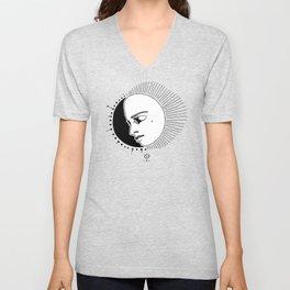 Half Moon Face Unisex V-Neck