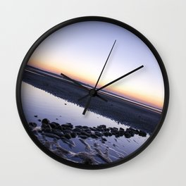 Sunset Over Beach Rocks Wall Clock