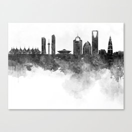 Riyadh skyline in black watercolour  Canvas Print