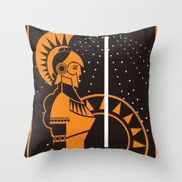 palas athena minerva greek roman mythology goddess orange and black old plate painting Throw Pillow
