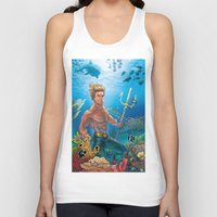aquaman Tank Tops featuring Aquaman Black Lagoon (Sun Kissed Water Version) by Brian Hollins art
