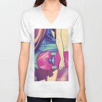 skateboard V-neck T-shirts featuring skateboard girl by Ewelina Gaska