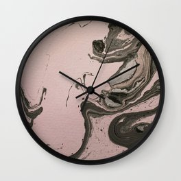 Pink and gray marbled paper IV Wall Clock