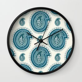 Hand drawn lily of the valley floral paisley damask Wall Clock