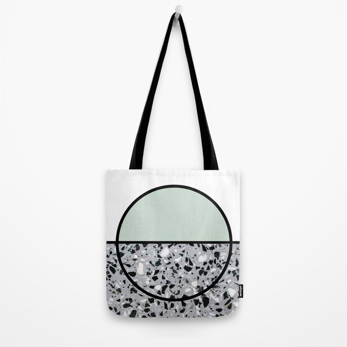 Minimal Modern Terrazzo Pattern Design Mint Green Tote Bag