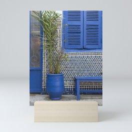 Blue flowerpot and mosaics, Morocco Mini Art Print