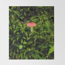 Lonely Mushroom Throw Blanket