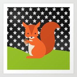 Squirrel, animals, stars, Chalkboard , nursery decor , children gift, birthday gift Art Print