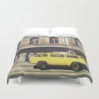 submarine Duvet Covers featuring Yellow submarine by monicamarcov