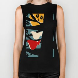 White and red birds on a black tree Biker Tank