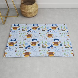 Good Doggie Hand-Drawn Cartoon Baby Blue Dog Print Rug