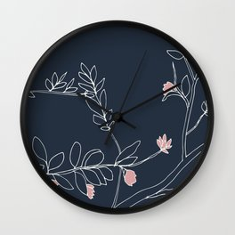 Flora, White and Pink on Navy Blue Wall Clock