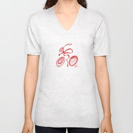 Bicycle - Red Ribbon Rider Unisex V-Neck