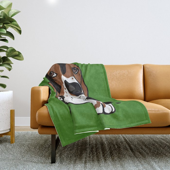 A Dog Mom and Her Basset Hound Throw Blanket
