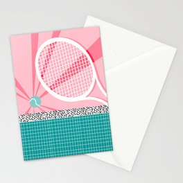 Boo Ya - tennis full court racquet palm springs resort sports vacation athlete pop art 1980s neon  Stationery Cards
