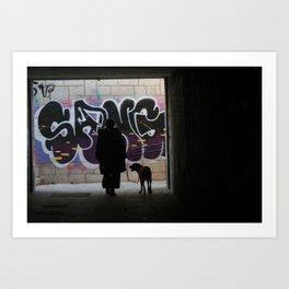 Woman and dog, graffiti Art Print