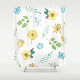 floral pattern with yellow flowers Shower Curtain