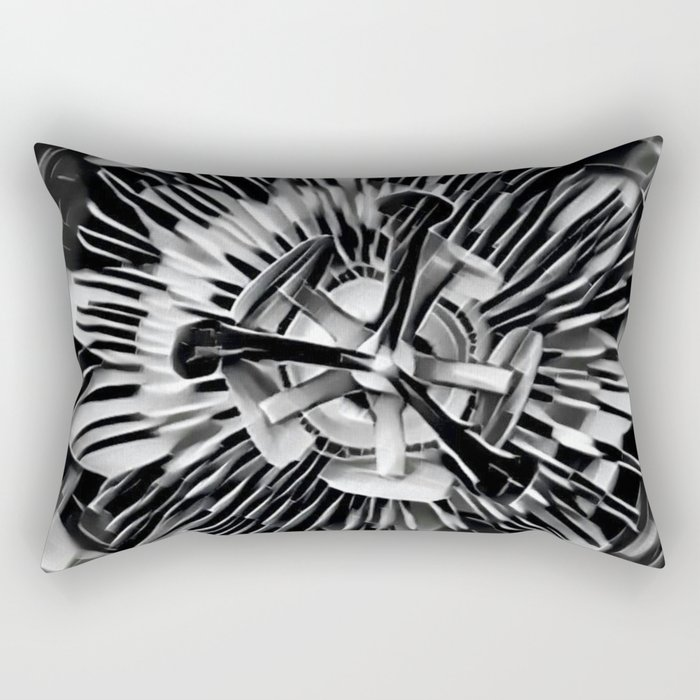 Passiflora Black and White Passion Flower Rectangular Pillow