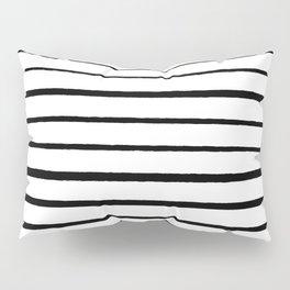Black and White Rough Organic Stripes Pillow Sham