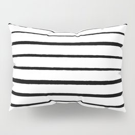 Black and White Rough Organic Stripes Pillow Sham
