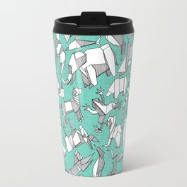 origami animal ditsy mint Travel Mug