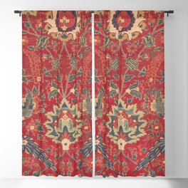 Indian Trellis I // 17th Century Ornate Medallion Red Blue Green Flowers Leaf Colorful Rug Pattern Blackout Curtain