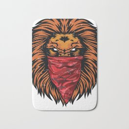 Lion Gangster Roaring Lion Red Bandanna Bath Mat