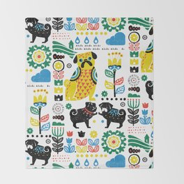Scandinavian Pugs Throw Blanket