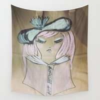 art history Wall Tapestries featuring Pink Ladies: Art History by Amy Burvall