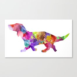 Rainbow Watercolor Miniature Daxon (Color) Canvas Print
