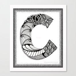 Zentangle C Monogram Alphabet Initials Canvas Print