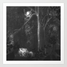 wolf's night in the forest Art Print