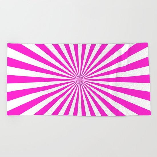 Starburst (Hot Magenta/White) Beach Towel