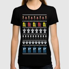 Doctor Who - Time of The Doctor - 8 bit Christmas Special MEDIUM Womens Fitted Tee Black