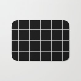 white grid on black background - Bath Mat