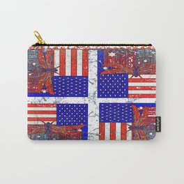Grungy Vintage Abstracted Dragonfly-Flag 4th of July Art Carry-All Pouch