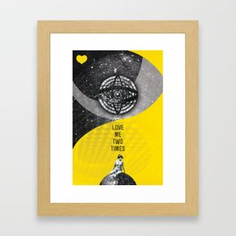 Retro Vintage Love Quote Nude Woman Space Astronomy Love Me Two Times Rock Music Song Lyrics Framed Art Print