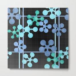 Black blue green abstract pattern Metal Print