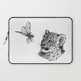 Snow leopard cub and dragonfy G148 Laptop Sleeve