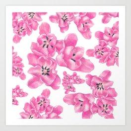Spring pink poppies Art Print