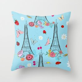 Paris, Eiffel tower and spring time flowers, strawberry Throw Pillow
