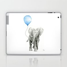 Baby Animal Elephant Watercolor Blue Balloon Baby Boy Nursery Room Decor Laptop & iPad Skin