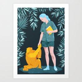 Jane and Fifi - Jane Goodall tribute illustration Art Print