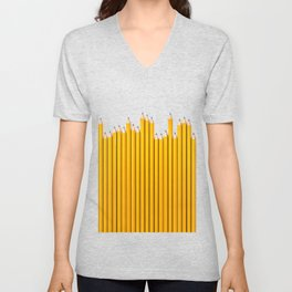 Pencil row / 3D render of very long pencils Unisex V-Neck