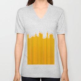 Pencil row / 3D render of very long pencils Unisex V-Neck