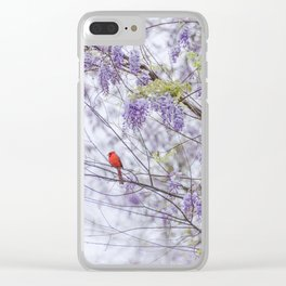 Cardinal and wisteria Clear iPhone Case