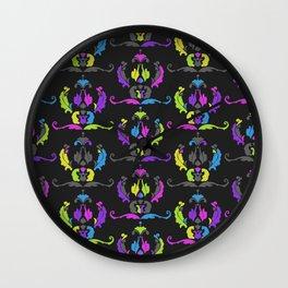 Damask Print Fluoro Wall Clock