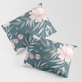 Festive, Floral Prints, Pink and Teal Green Pillow Sham